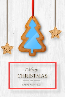 Noël sur un fond en bois blanc avec pain d'épice