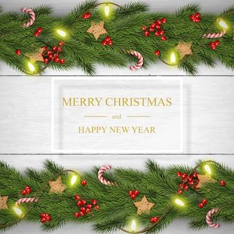 Noël sur fond en bois blanc avec des voeux