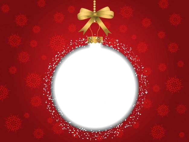 Noël fond rouge avec babiole blanc