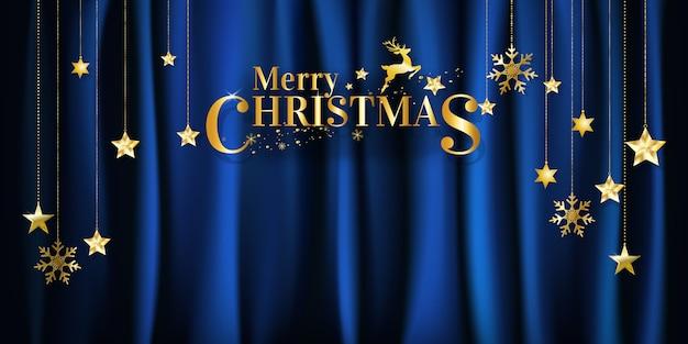Noël sur fond de tissu bleu avec suspension étoiles et flocons de neige avec espace de copie. vecteur.