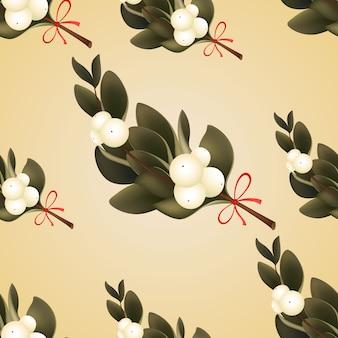 Noël fond transparent avec des branches à feuilles persistantes de gui