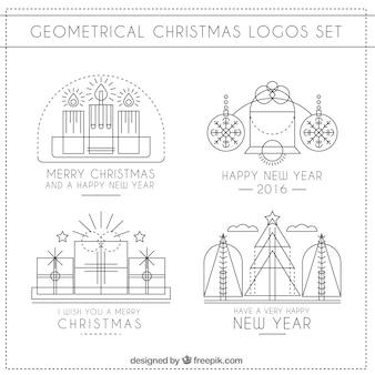 Noël géométrique logos set