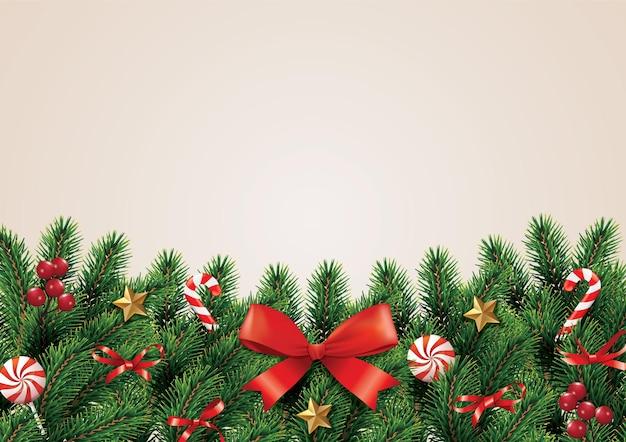 Noël et guirlande et bordure de ruban rouge réaliste branches d'arbres de noël décorées de baies