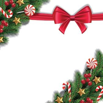 Noël et guirlande et bordure de ruban rouge réaliste branches d'arbres de noël décorées de berr