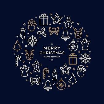 Noël icônes éléments guirlande cercle or blanc bleu fond