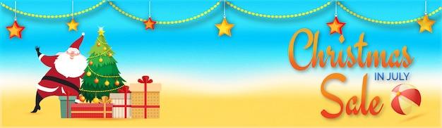 Noël en juillet bannière de vente avec le père noël.