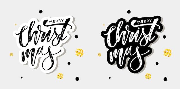 Noël lettrage calligraphie pinceau texte autocollant de vacances tableau