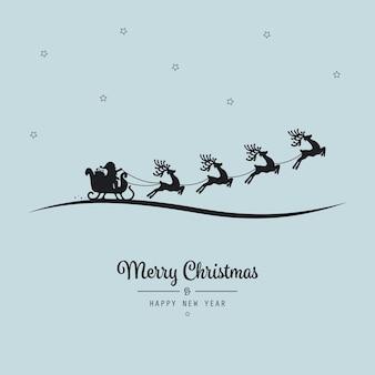 Noël, lettrage santa, traîneau, voler, arrière-plan bleu