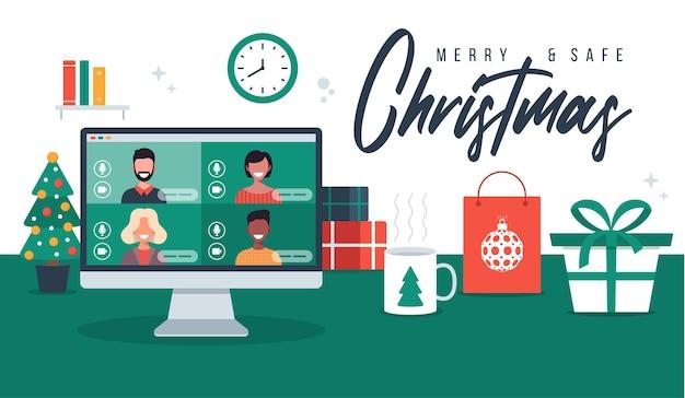Noël en ligne de voeux de personnes se réunissant en ligne ensemble