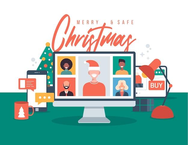 Noël en ligne de voeux de personnes se réunissant en ligne