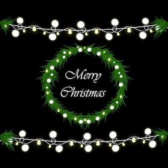 Noël lumineux, belles lumières, éléments de conception. lumières incandescentes pour la conception de cartes de voeux de noël. guirlandes, décorations de noël légères.