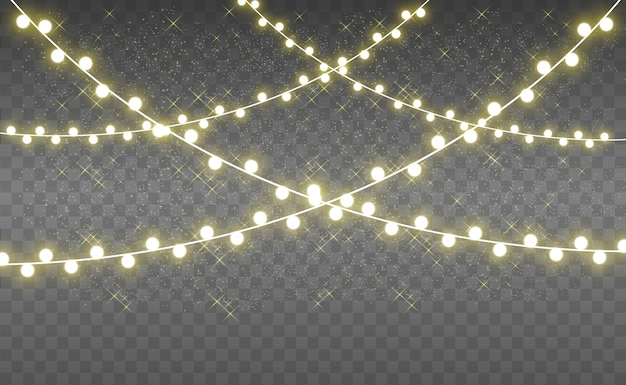 Noël lumineux, belles lumières, éléments de conception. lumières incandescentes pour la conception de noël. guirlandes, décorations de noël légères.