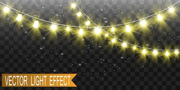 Noël lumineux, belles lumières, éléments. lumières incandescentes pour la conception de cartes de voeux de noël. guirlandes, décorations de noël légères.