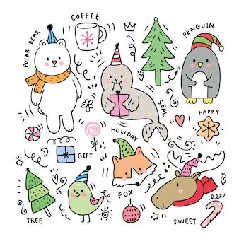 Noël mignon de bande dessinée, animaux de poteau doodle.