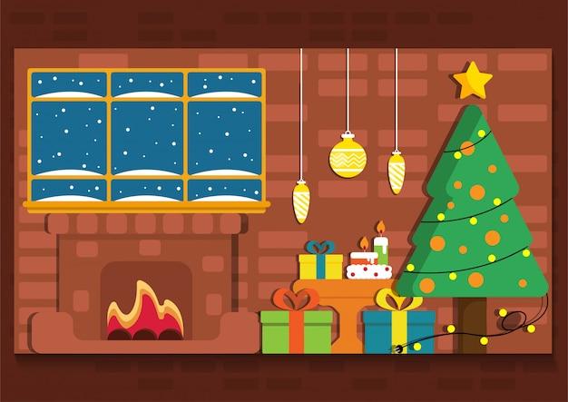 Noël mignon avec bannière de vue intérieure de foyer.
