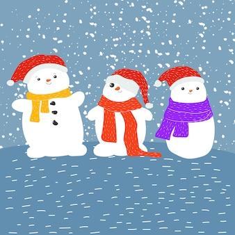Noël mignon bonhomme de neige nouvel an dessin animé neige figure jeux d'hiver boule de neige stock vecteur plat
