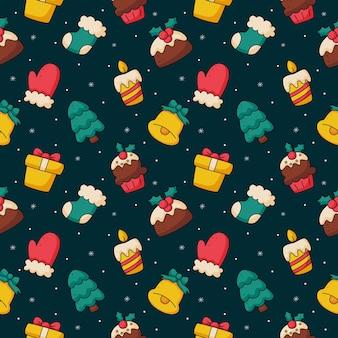 Noël mignon doodle modèle sans couture sur fond bleu