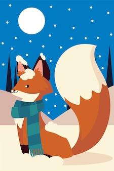 Noël mignon renard avec écharpe animal dans l'illustration de la scène de nuit de neige