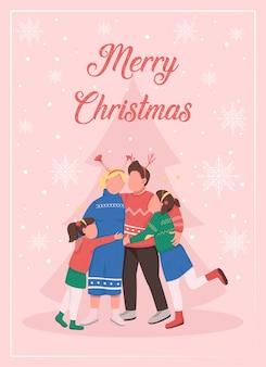 Noël avec modèle plat de carte de voeux de famille. heureux parents et enfants