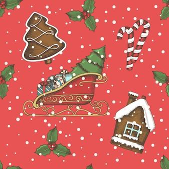 Noël modèle sans couture avec des cloches dessinées à la main, traîneau du père noël, bonbons, houx et chaussette. nouvel an.