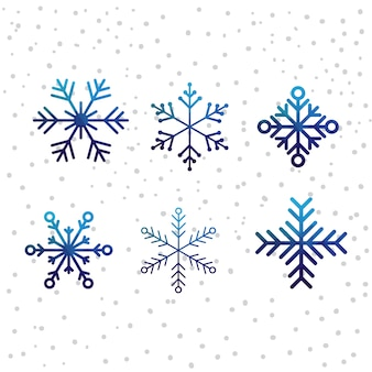 Noël neige vector icon set