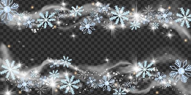 Noël neige vent vector illustration hiver flocon de neige blizzard cadre noël gel étincelle frontière