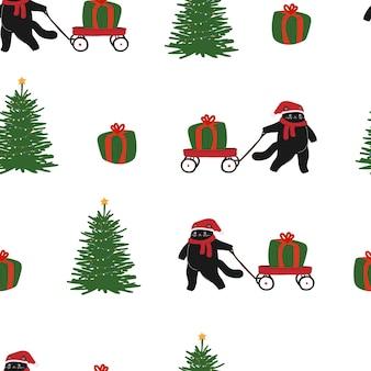 Noël nouvel an chat modèle sans couture hiver décembre cadeau modèle animal de dessin animé plat mignon s