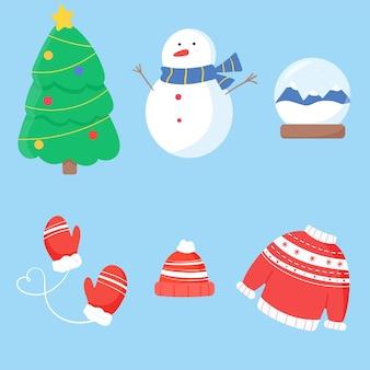 Noël et nouvel an choses arbre bonhomme de neige cristal et vêtements d'hiver chauds