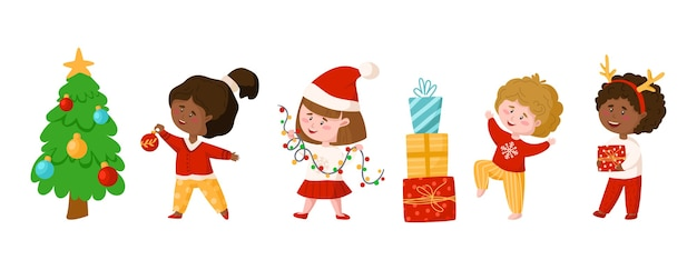 Noël ou nouvel an enfants clipart