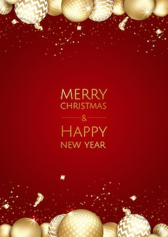 Noël et nouvel an fond avec des boules d'or, carte de noël