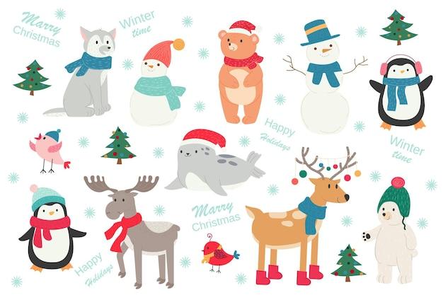 Noël nouvel an mignon dessin animé animaux pingouin ours cerf orignal loup chien oiseau joint bonhomme de neige