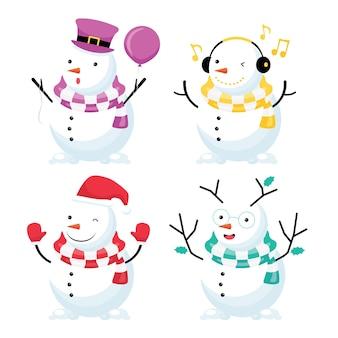 Noël et nouvel an saisonniers. collection comprend un bonhomme de neige coloré portant un chapeau et une écharpe
