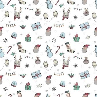 Noël et nouvel an sans soudure vecteur main noyer motif décorations de vacances
