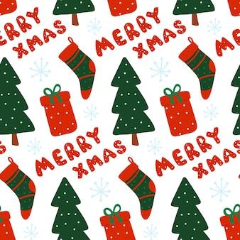 Noël nouvel an vecteur transparente motif présent arbre bas joyeux noël répéter imprimer