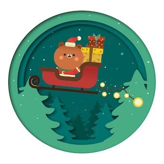 Noël Ours Kawaii Santa Claus Vecteur Premium
