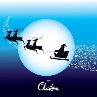 Noël père noël au volant d'un vecteur de luge.