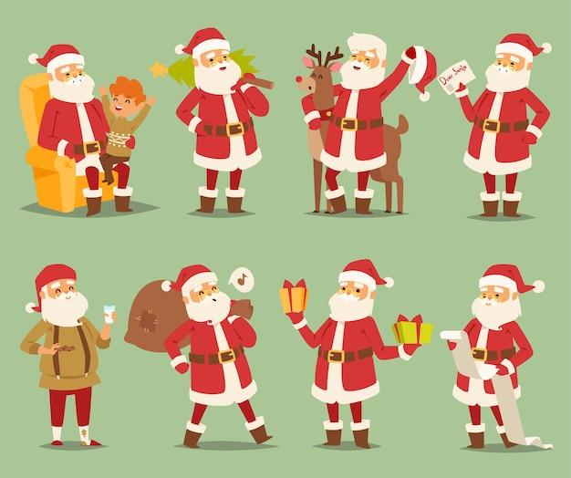 Noël père noël caractère différentes poses illustration noël homme costume traditionnel rouge