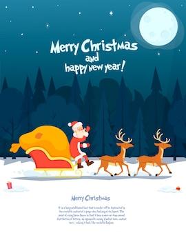 Noël père noël à cheval sur un traîneau avec des rennes par la neige