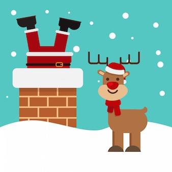Noël père noël coincé dans la cheminée vintage rennes sourire neige fond