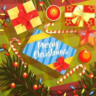 Noël présente une illustration colorée avec une collection de symboles de vacances classiques