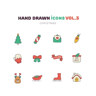 Noël rempli d'icônes dessinées à la main de couleur