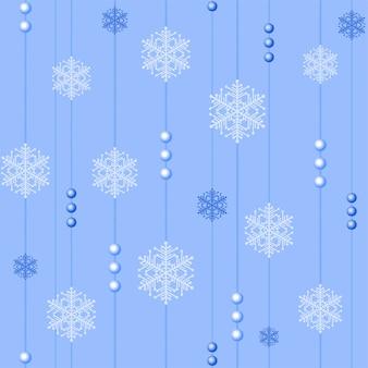 Noël sans couture avec des perles et des flocons de neige