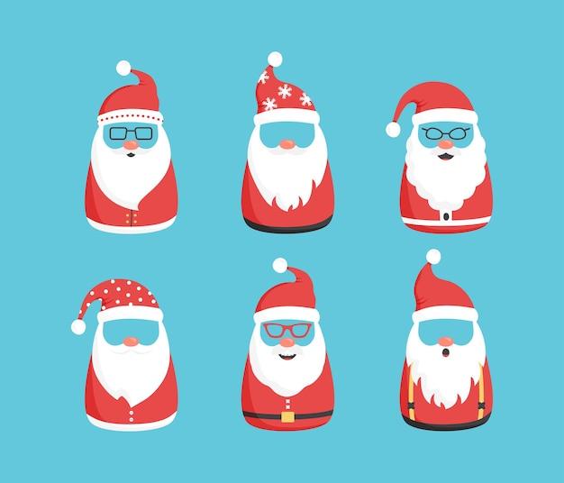 Noël santa claus caractère vintage noel icône mignon bonhomme de neige émoticônes vacances d'hiver