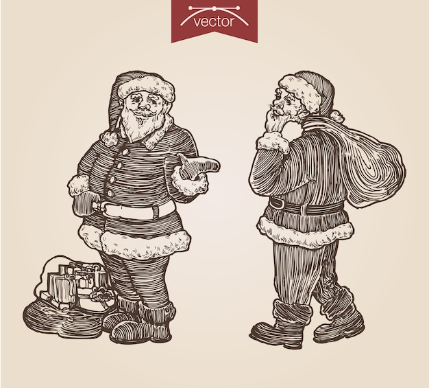 Noël santa set gravure dessinée à la main