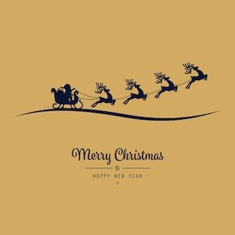 Noël, santa, traîneau, voler, doré, fond