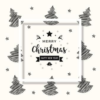 Noël scribble arbre carte voeux texte ombre cadre