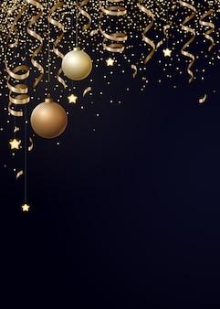 Noël avec des serpentines d'or, des confettis et des boules de noël.