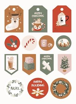 Noël sertie d'autocollants et d'étiquettes.