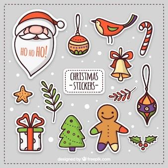 Noël tiré par la main de décoration autocollants