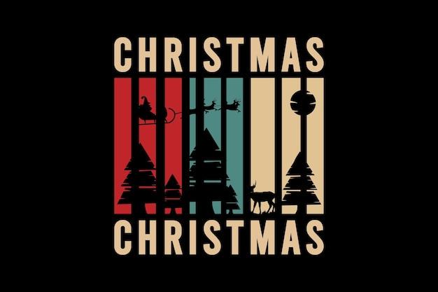 Noël, typographie de maquette de silhouette